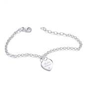 "Silver ""My first diamond"" heart bracelet 19cm"