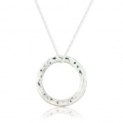 Silver Hammered Circle Pendant and Chain