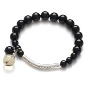 Honeystore Women's Citrine AA Black Tourmaline Tibetan Silver Stretch Bracelet Colour Black