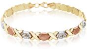 Sterling Silver 3 Colour. Crystal Hugs and Kisses Bracelet of 19cm
