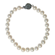 Classic Cultured Freshwater White 6-7mm Pearl bracelet with an attractive 'Good Fortune' silver clasp, presented in a pretty satin silk pouch with a gift card