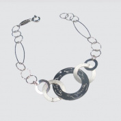 Bracelet in sterling silver, rhodium plated 925, with silk-screened plates round EveryDayGioielli,