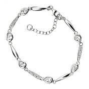 Elements Sterling Silver Ladies' B3713C Teardrop Bracelet with Clear Cubic Zirconia, Length 18 + 3cm