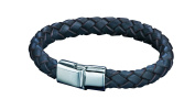 Fred Bennett, Mens, B3673, Stainless Steel Magnetic Slide Clasp Bracelet With Thick Braided Brown Leather, Length 21Cm