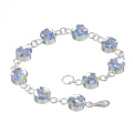 Silver Bracelet made with real forget-me-nots - Round links - includes giftbox