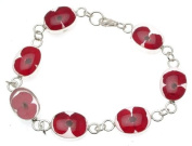 Ladies 925 silver bracelet with poppy design - 114144