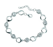 Elements Sterling Silver B3179C Ladies' Open Circles and White Cubic Zirconia Bracelet