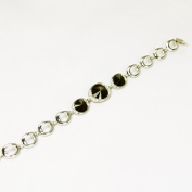3 Black. Crystal Bracelet, Rhodium Plated with Silver Effect Finish