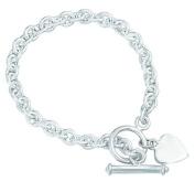 Elements Sterling Silver Ladies' B066 Heart Tag T-Bar Bracelet
