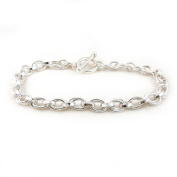 """Solid HM Hallmarked Sterling 925 Silver Double Link Chain Bracelet 19cm / 7.5"""""""