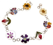 Real flower bracelet in 925 silver - mixed flower design - 114218