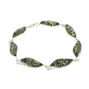 Nova Silver Wave Bracelet with Green Amber Of Length 18 cm