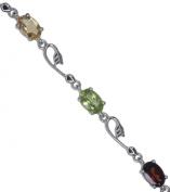 Citrine Peridot Garnet Adjustable Sterling Silver Bracelet