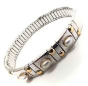 Women's Stretch Bracelet Stainless Steel 18 ct. Gold & Pearls Directly from italian factory