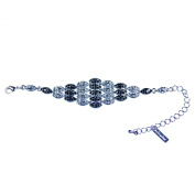 Gemini London Jewellery Diamond Shaped Bracelet with Black and Clear White. Crystals, Rhodium Plated Silver Finish and Nickel Free Metal