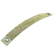Luxury Leather - Mesh Bracelet - made with. ELEMENTS 8 rows Citrine (249) Leather beige