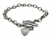 Handmade 925 Sterling Silver Textured Heart Bracelet / Bracelets. Gift Wrapped