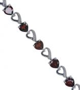 Garnet Heart 18cm Adjustable Hallmarked Sterling Silver Bracelet