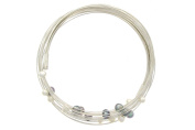 Les Poulettes Jewels - Sterling Silver Bracelet - 17 Multi-Silver Wires and 17 Dark Grey and White Pearls