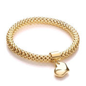 J-JAZ Yellow Mesh with Heart Pendant - Fancy Bracelet