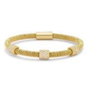 Jewelco London Silver - Magnetic - CZ - Popcorn Bracelet 5mm Guage - Gilded
