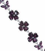 Rhodolite Garnet Butterfly Adjustable Hallmarked Sterling Silver Bracelet