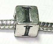 I - Initial Letter - Silver Plated Charm Bead - fits Pandora, Chamilia etc style Bracelets - SpangleBead