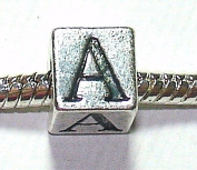 A - Initial Letter - Silver Plated Charm Bead - fits Pandora, Chamilia etc style Bracelets - SpangleBead