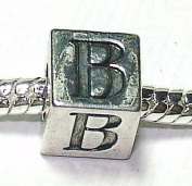 B - Initial Letter - Silver Plated Charm Bead - fits Pandora, Chamilia etc style Bracelets - SpangleBead