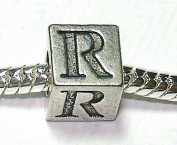 R - Initial Letter - Silver Plated Charm Bead - fits Pandora, Chamilia etc style Bracelets - SpangleBead