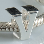 V - Initial Letter - Sterling Silver Charm Bead - fits Pandora, Chamilia etc style Bracelets - SpangleBead