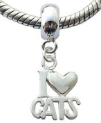 Silver charms by BodyTrend © - Do you love cats. If so this charmn is for you! Design fits all pandora type bracelets & necklaces - hand finisned and polished to a fine jewellery standard - packed in a lovely velvet pouche