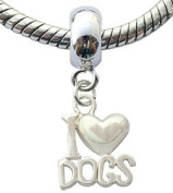 Silver charms by BodyTrend © - I love dogs Design fits all pandora type bracelets & necklaces -