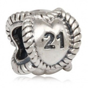 21 Continuous Heart - Sterling Silver Charm Bead - fits Pandora, Chamilia etc style Bracelets - SpangleBead