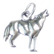 Howling wolf sterling silver charm .925 x 1 Wolves charms CF3806