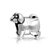 Bling Jewellery Pug Puppy Dog 925 Sterling Silver Animal Bead Fits Pandora Beads Charms
