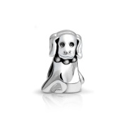 Bling Jewellery 925 Sterling Silver Puppy Dog Animal Bead Charm.