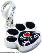 """1.6g Solid .925 Sterling Silver """"I Love my Cat"""" Paw Charm/Pendant - Anti-Tarnish & Epoxy Colour"""