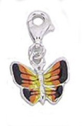 BUTTERFLY Clip-On Charm with Multi-Coloured Wings of Black, Orange & Yellow Enamel - 925 Sterling Silver - Thomas Sabo Style