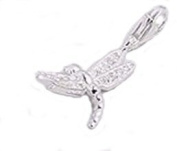 DRAGONFLY Clip-On Charm with Sparkly Wings of Pave Set WHITE Cubic Zirconia (CZ) Stones - 925 Sterling Silver - Thomas Sabo Style
