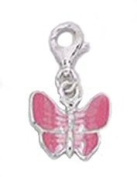 BUTTERFLY Clip-On Charm with PINK Wings of Enamel - 925 Sterling Silver - Thomas Sabo Style