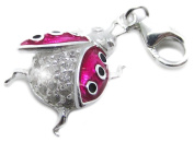 2.5g Solid .925 Sterling Silver Enamel Ladybird Charm/Pendant with CZ Stones/Anti-Tarnish/Lobster Clasp - FREE GIFT BOX