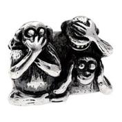 Authentic Silverado There Monkeys Charm Bead Compatible with Pandora Chamilia Troll Biagia etc