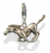 Solid Silver Galloping Stallion Horse Clip On Bracelet Charm.