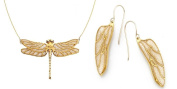 Gold Plated Sterling Silver Dragonfly Necklace and Wing Earrings Polymer Clay Handmade Jewellery Set, 46cm Gold Filled Chain