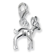 Cute Silver Baby DEER / FAWN / BAMBI Clip-On Charm - 925 Sterling Silver - Thomas Sabo Style