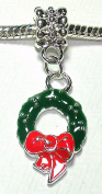 Christmas Wreath - Silver Plated Dangle Charm Bead - fits Pandora, Chamilia etc style Bracelets - SpangleBead