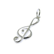 Quality UK Sterling Solid Silver Treble Clef Charm 25 x 9mm 925 HM