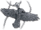 Alchemy Gothic Black Raven Pendant - New