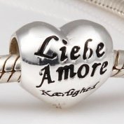 """Love"" Heart - 6 Different Languages - Sterling Silver Charm Bead - fits Pandora, Chamilia etc style Bracelets - SpangleBead"
